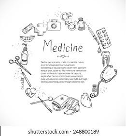Medical doodle frame background for poster flyer cover banner brochure