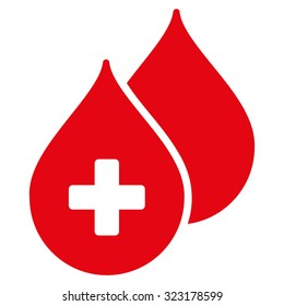 Medical Drops vector icon. Style is flat symbol, red color, rounded angles, white background.
