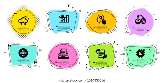 Medical drugs, Growth chart and Snow weather line icons set. Chat bubbles with quotes. Swipe up, Cogwheel and Marketing signs. Typewriter, Select user symbols. Medicine pills, Diagram graph. Vector