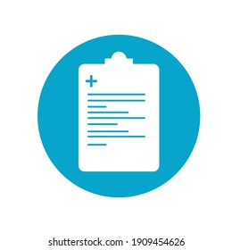 Medical drugs list sheet icon white. Healthcare, and medicine. Vector illustration