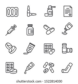 Medical drugs, medications vector linear icons set. Pharmacy products. Pills, syringe, inhaler thin line illustrations pack. Healthcare and therapy. Medication prescription isolated clipart collection