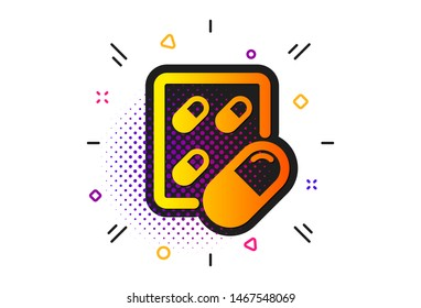 Medical drugs sign. Halftone circles pattern. Capsule pill icon. Pharmacy medication symbol. Classic flat capsule pill icon. Vector