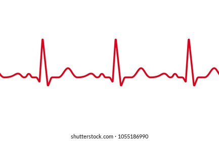 Medical ECG or EKG pulse electrocardiogram. Vector red line heart seamless beat cardiogram chart repeated on white background. Healthcare digital medical concept life rhythm frequency.