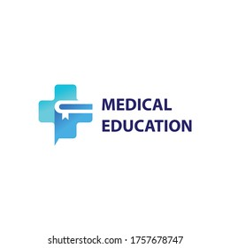 Medical education logo design. medical icon combine with book.