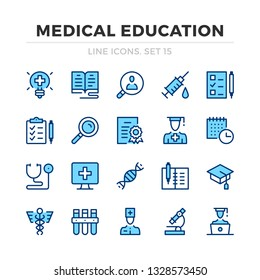 Medical education vector line icons set. Thin line design. Modern outline graphic elements, simple stroke symbols. Medical education icons