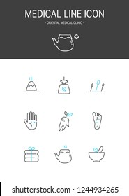 Medical elements outline icons set. Oriental medical clinic