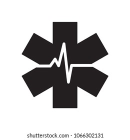 Medical Emergency Care glyph icon. Urban infrastructure vector sign, pictogram, illustration. Isolated on white background.