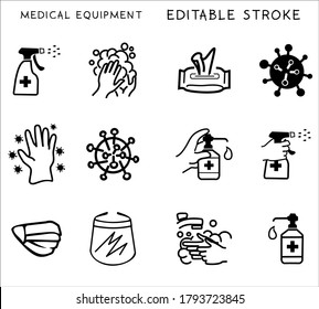 Medical Equipment of Coronavirus Protection Related Vector Line Icons. Contains such Icons as Protective. Editable Stroke
