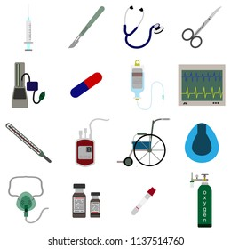 Medical equipment icon color set vector illustration