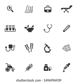 Medical equipment icon set - Grey series