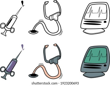 Medical equipment icons set in doodle style, depicted in color and black, syringe, stethoscope and heart rate monitor