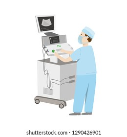 Medical equipment maintenance. An engineer wearing uniform repair ultrasound machine. Vector illustration isolated on white