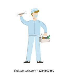 Medical equipment maintenance. Man in uniform with tools for repairing of medical equipment. Vector illustration isolated on white