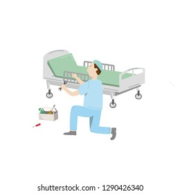 Medical equipment maintenance. An technician wearing uniform repair hospital bed. Vector illustration isolated on white