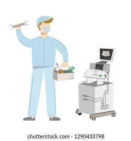 Medical equipment maintenance. A technician  wearing uniform repairs ultrasound machine. Vector illustration isolated on white