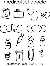medical equipment minimalist doodle set