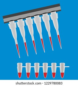 Medical equipment. Multi channel pipette loading biological samples in microplate for test in the laboratory. Multichannel pipette load samples in pcr microplate