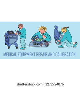 Medical equipment repair and calibration banner with text. Fine for medical services promo brochures, sites offering medical equipment repair, calibration, installation and maintenance.