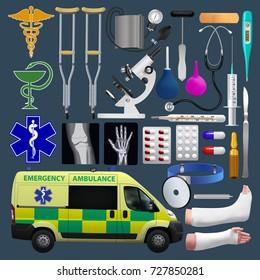 Medical equipment set. Emergensy ambulance,  tools, medical products. Vector illustration.