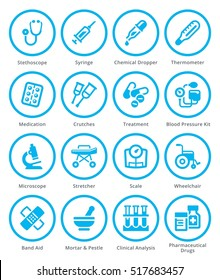 Medical Equipment & Supplies Icons Set 1 - Blue Circles