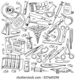 Medical equipments and tools in the freehand drawing style. Vector illustration