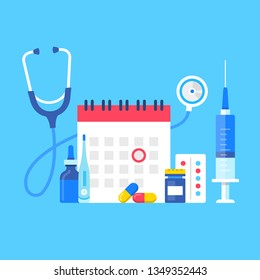Medical exam. Vector illustration. Medical test, scheduled medical examination concepts set. Flat design. Calendar with red circle date, bottle of pills, capsules, syringe, stethoscope and thermometer