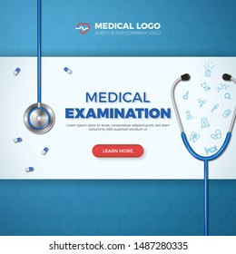 Medical Examination card. Healthcare banner flat icons in medicine on blue background. Excellent for medicine, health, cross and decoration for poster, social media, web, cover. Vector illustration