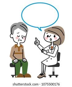 Medical examination to elderly men.