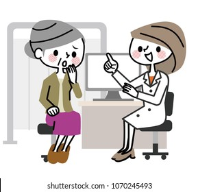 Medical examination to the elderly woman.