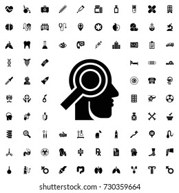 Medical examination of head icon. set of filled medicine icons.