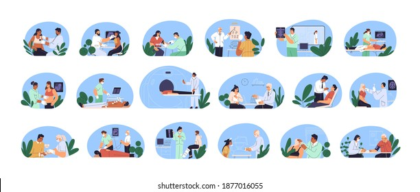 Medical examination and health checkup. Set of doctors and patients. Consultation, diagnostics, listening lungs with stethoscope, blood sampling from vein. Flat vector illustration isolated on white
