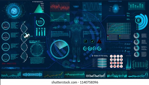 Medical examination HUD elements set. Display virtual interface (dna formula, ecg monitor, body scan, medical infographic, icons set, statistic and diagrams) Modern research of human health, vector