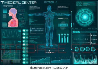 Medical examination in HUD style. Medical infographic. Hi Tech, Research of human health. Diagnostic - Heart Scan, Brain, Human Body and Electrocardiogram, Ultrasound and Cardiogram in HUD UI style.