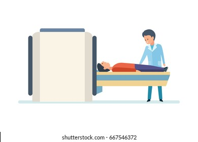 Medical examination, research, study. Doctor preparing patient for MRI scan in hospital. Vector illustration on white background, people in cartoon style.
