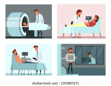 Medical examining, check-up illustrations set. Electrocardiogram, MRI scanning flat drawings pack. Man taking chest x-ray. Patients and doctors, therapists vector characters. Healthcare, medicine