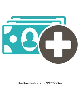 Medical Expenses vector icon. Style is bi-color flat symbol, grey and cyan colors, rounded angles, white background.