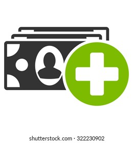 Medical Expenses vector icon. Style is bi-color flat symbol, eco green and gray colors, rounded angles, white background.
