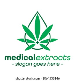 Medical extracts logo. Medical marijuana leaf logo.