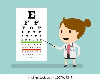 Medical Eye Diagnostic, Doctor And Eye Test Chart, Vector illustration, Health and Medical, Medicine cartoon