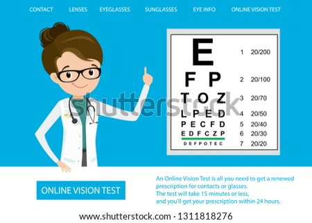 Medical Eye Diagnostic Online Vision Testweb Page Stock Vector