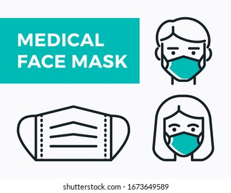 Medical Face Mask icons. Simple thin line signs with people wearing protection masks.