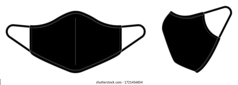 Medical face mask vector template illustration / black