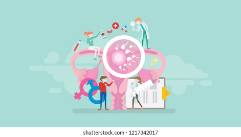 Medical Fertility Center Solution Tiny People Character Concept Vector Illustration, Suitable For Wallpaper, Banner, Background, Card, Book Illustration, And Web Landing Page