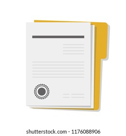 Medical files in yellow paper case. Health insurance. Health history. Medical contract