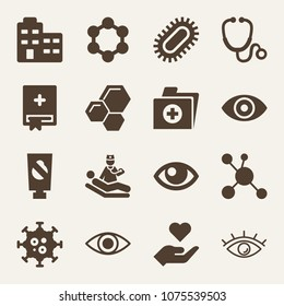 Medical filled vector icon set on wood color background such as appointment book, pet solution, folder, eye variant with enlarged pupil, eye outline with lashes, cells