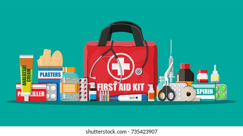 Medical first aid kit with different pills, phonendoscope and thermometer. Healthcare, hospital and medical diagnostics. Urgency and emergency services. Vector illustration in flat style