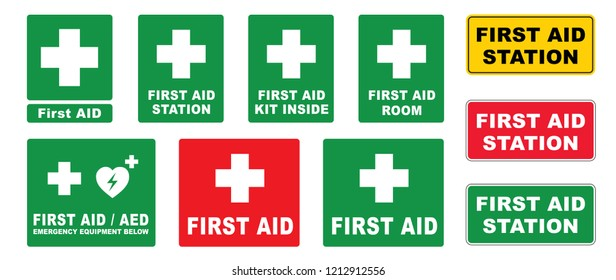Medical first AID logo. Vector eps First aed aid station. Emergency defibrillator AED icon icons Medical logo cpr Vector eps symbol location automated external Medical signs sign heart fun funny kit