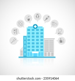 Medical flat building with emergency center clinic hospital and doctor avatars decorative icons set vector illustration