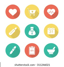 Medical flat design long shadow icons set. Hospital cardiology center. Pharmacy store and alternative medicine herbs healing. Ecg and heart beat symbol. Vector infographic silhouette elements
