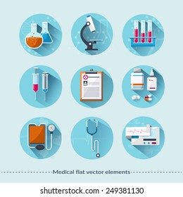 Medical flat icons with long shadow. Healthcare and medical concept. Vector illustration